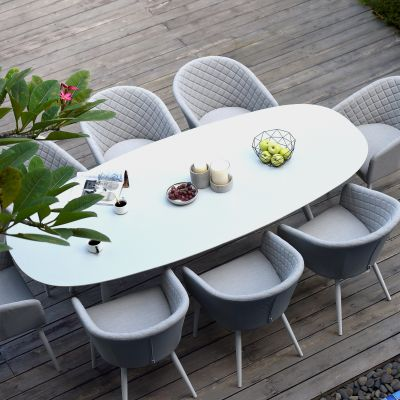Abbie 8 Seat Oval Dining Set / Lead Chine