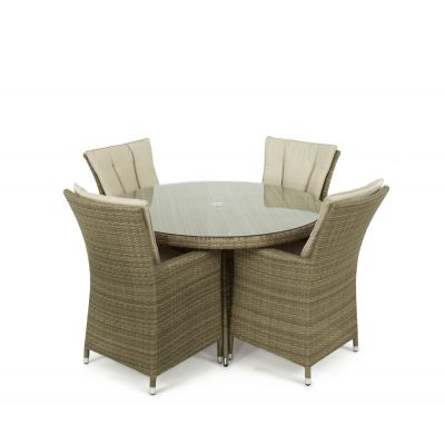 Napa 4 Seat Round Dining Set / Natural