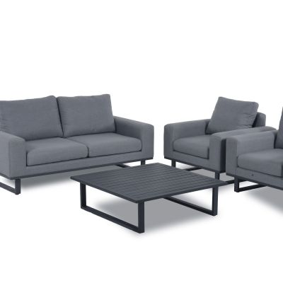 Edward 2 Seat Sofa Set with Coffee Table / Charcoal
