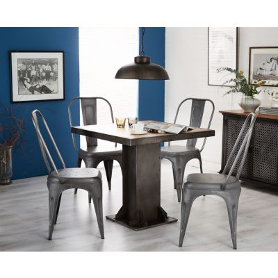 Urban Industrial Square Dining Table with Metal Silver Chairs