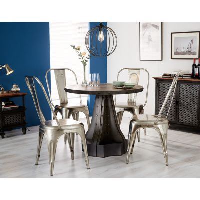 Urban Industrial Round Dining Table with Metal Silver Chairs