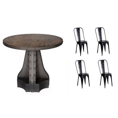 Urban Industrial Round Dining Table with Metal Black Chairs
