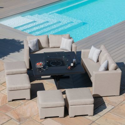 Galaxy Cube Sofa Set with Fire Pit / Taupe