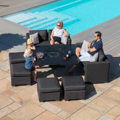 Galaxy Cube Sofa Set with Fire Pit / Charcoal
