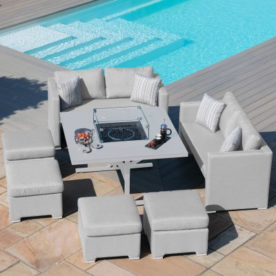 Galaxy Cube Sofa Set with Fire Pit / Lead Chine