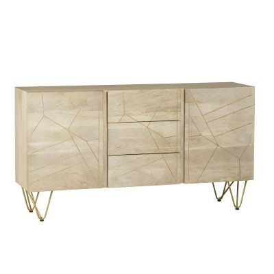 Large Sideboard with Doors and Drawers Dallas Light Mango