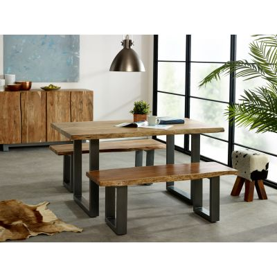 Medium Dining Set with 2 Benches Natural Essential Live Edge
