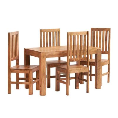 Dakota Light Mango 4 FT Dining Set with Wooden Chairs