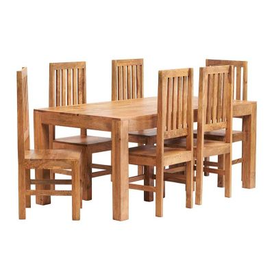 Dakota Light Mango 6 FT Dining Set with Wooden Chairs