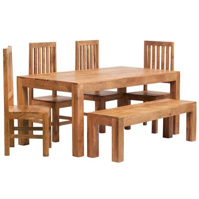 Dakota Light Mango 6 FT Dining Set with Bench & 4 Slatted Chairs