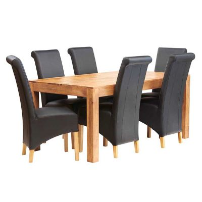 Dakota Light Mango 6 FT Dining Set with Leather Chairs