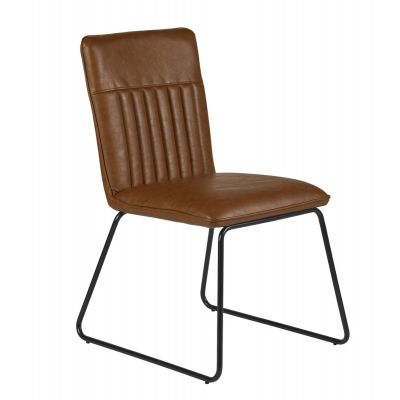 Natural Essential Dining Chairs in Tan Colour Leather - Set of 2