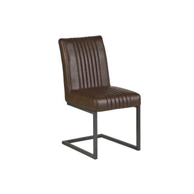 Matching Brown Leather Dining Chairs - Set of 2
