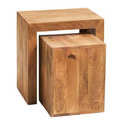 Dakota Light Mango Cubed Nest of 2 Tables