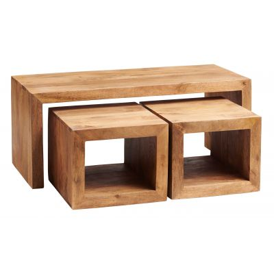 Dakota Light Mango John Long Cubed Coffee Table Set