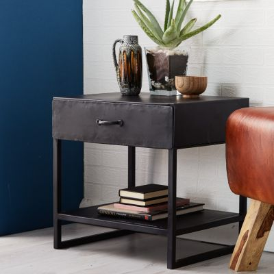 Henry Dark Metal  1 Drawer Lamp Table