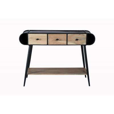 Industrial Chadar Metal and Wood Console Table