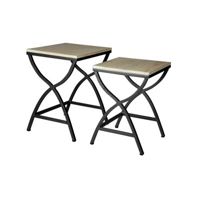 Set of 2 Metal and Wood Nested Tables