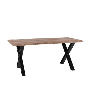 Live Edge Large Dining Table with Cross Metal Legs