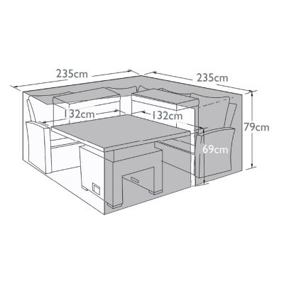 Outdoor Cover for Deluxe Kingston Corner Set with Rising Table