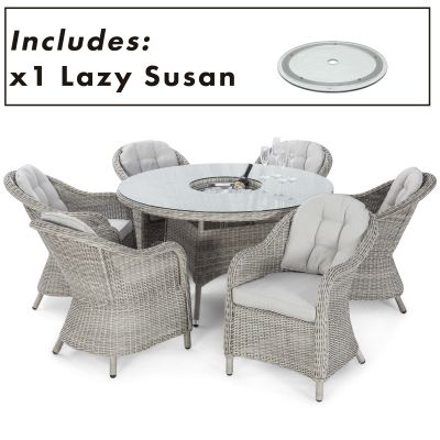 Opava 6 Seat Round Ice Bucket Dining Set with Heritage Chairs LS