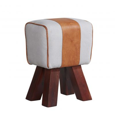 Solid Wooden Legs Stool with Canvas and Leather Seat