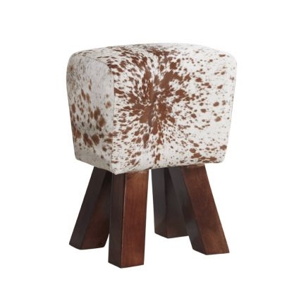 Solid Wooden Legs Stool covered in Genuine Cowhide Leather - Natural