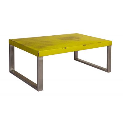 Industrial Design with Distress Finish Coffee Table - Yellow