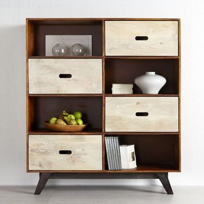 Solid Wood Bookcase Display Unit Retro Trio