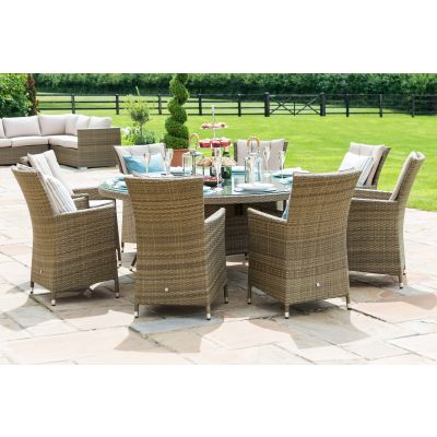 Napa 8 Seat Round Dining Set / Natural
