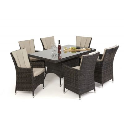 Beverly 6 Seat Rectangle Dining Set / Brown