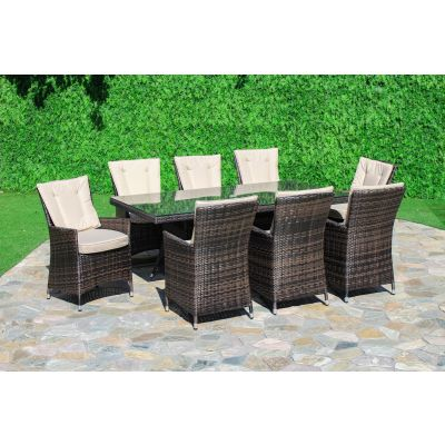 Beverly 8 Seat Rectangle Dining Set / Brown