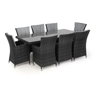 Beverly  8 Seat Rectangle Dining Set / Grey