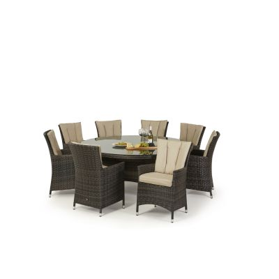 Beverly 8 Seat Round Dining Set / Brown