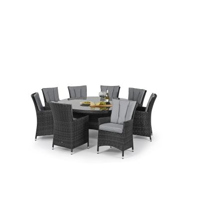 Beverly 8 Seat Round Dining Set / Grey