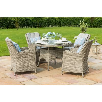 Clinton 4 Seat Round Dining Set with Venice Chairs