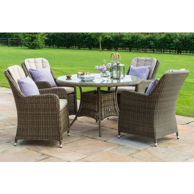 Chicago 4 Seat Round Dining Set with Venice Chairs