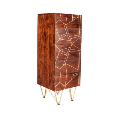 Tall Chest of drawers Dallas Dark Mango