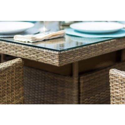 Napa 4 Seat Square Dining Set / Natural