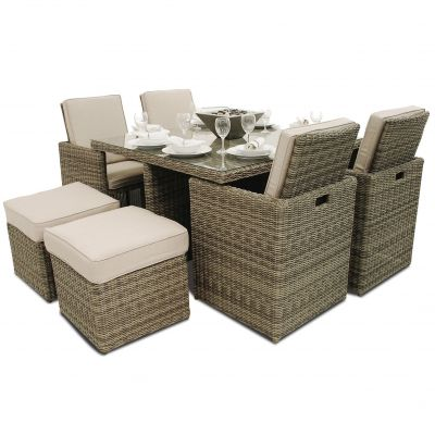 Xenia 5pc Cube with Footstools